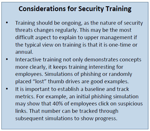 Consideration for Security Training