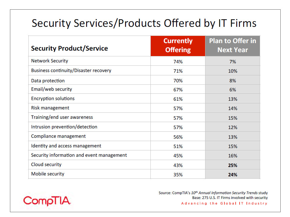 Security Services/Products Offered by IT Firms